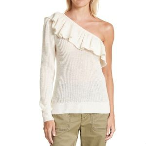 Rebecca Taylor One-Shoulder Ruffle Sweater Size M
